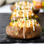 Buffalo Chicken Stuffed Sweet Potatoes, stuffed potatoes, buffalo chiken recipe, game day dinner ideas, slow cooker buffalo chicken, crockpot buffalo chicken, how to cook sweet potatoes in the crockpot, easy dinner recipe