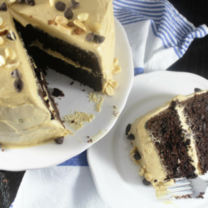 Triple Chocolate Cake and Peanut Butter Frosting
