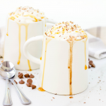 Salted Caramel Hot Chocolate, crockpot hot chocolate, slow cooker hot chocolate, salted caramel recipe, hot chocolate recipe ideas, winter drinks, kid friendly drinks, stove top hot chocolate