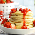 Pancakes with Strawberry Sauce, strawberry syrup, strawberry pancakes, how to make strawberry sauce, #strawberry, #breakfast, #pancakes, breakfast recipes, brunch ideas