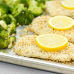 Crunchy Lemon Parmesan Chicken with Broccoli , sheet pan dinner, family dinner ideas, lemon chicken, easy dinner solutions, lemon broccoli, sheet pan recipe