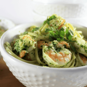 Shrimp Pesto Linguine