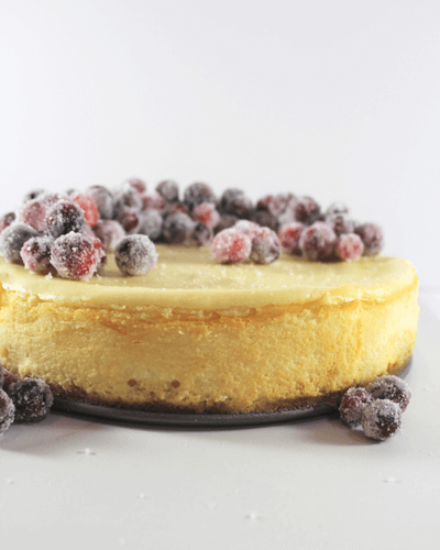 White Chocolate Cheesecake with Sparkling Cranberries