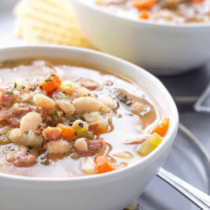 Slow Cooker Ham and Bean Soup, crockpot ham and bean soup, leftover ham recipes, what to made with leftover ham