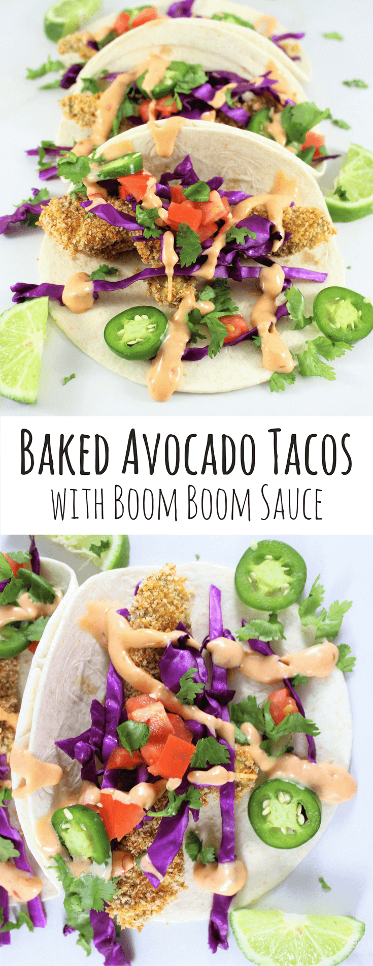 Baked Avocado Tacos with Boom Boom Sauce