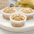 Banana Oat Muffins, healthy banana muffins, eggless muffins, high fiber breakfast, breakfast recipe with oats, banana recipe