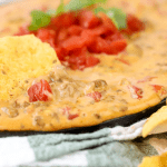 Beefy Queso Dip, game day recipe, cheese dip, rotel dip, beef and cheese recipe, crockpot dip recipe, slow cooker dip recipe