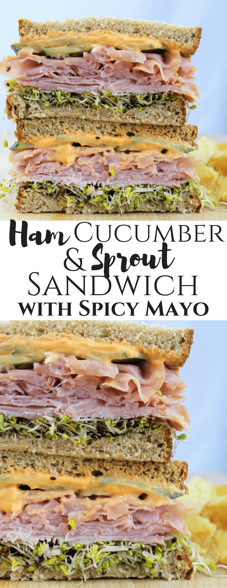 #SandwichWithTheBest, #ad, Ham Cucumber & Sprout Sandwich with Spicy Mayo