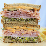 Ham, Cucumber and Sprout Sandwich with Spicy Mayo