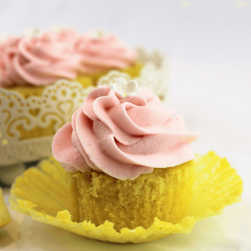 Lemon Cupcakes with Raspberry Frosting