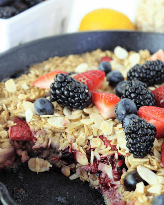 #ProYoHighProteinIceCream, #Pmedia, #ad, @krogerco, @proyotreats, Triple Berry Baked Oatmeal a la Mode, Oatmeal with ice Cream, Baked Oatmeal, Breakfast, high protein breakfast