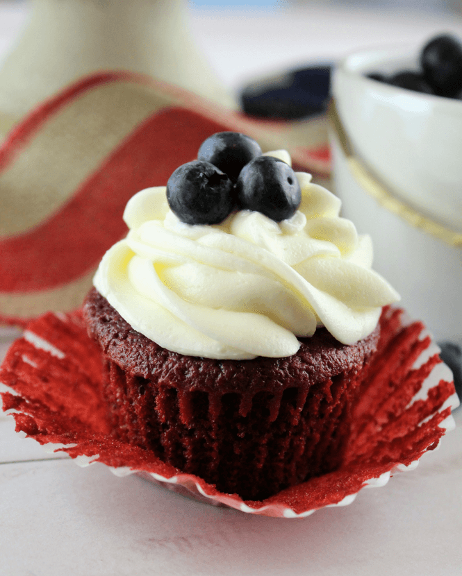 Red, White and Blueberry Cupcakes