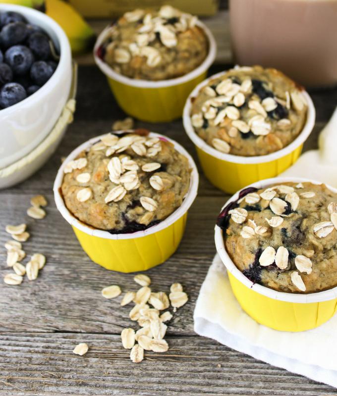 #Bananamazing #collectivebias #ad Blueberry Banana Oat Muffins, bananamilk recipe, snack, breakfast, muffin, kid friendly