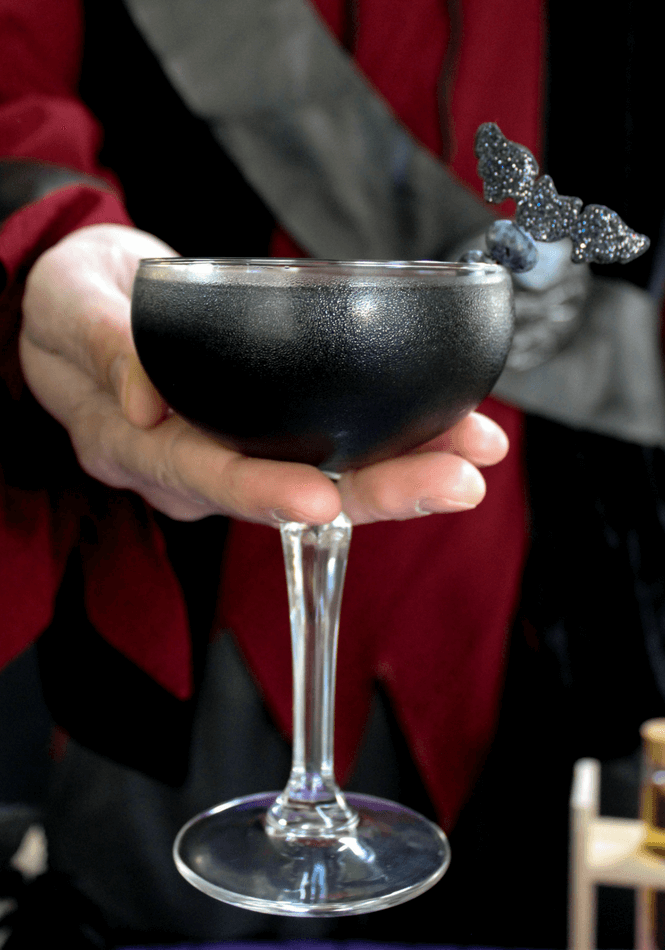 #ad, Black As Your Soul Halloween cocktail, #NightOfTheBat , #UnmaskYourSpirit, #halloween, lemonade, activated charcoal recipe