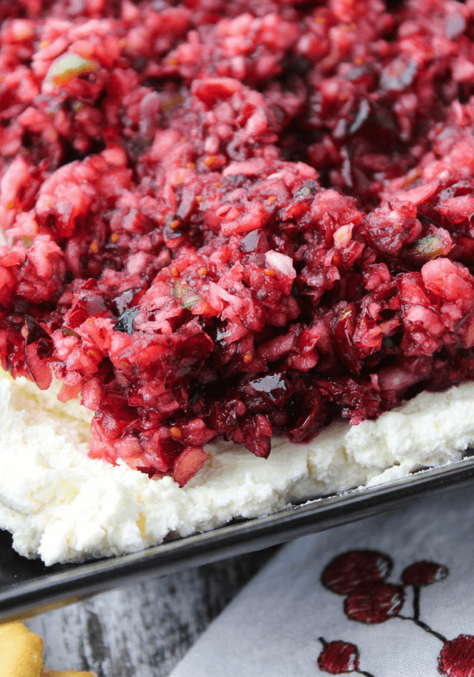 Poblano Cranberry Relish and Cream Cheese Dip