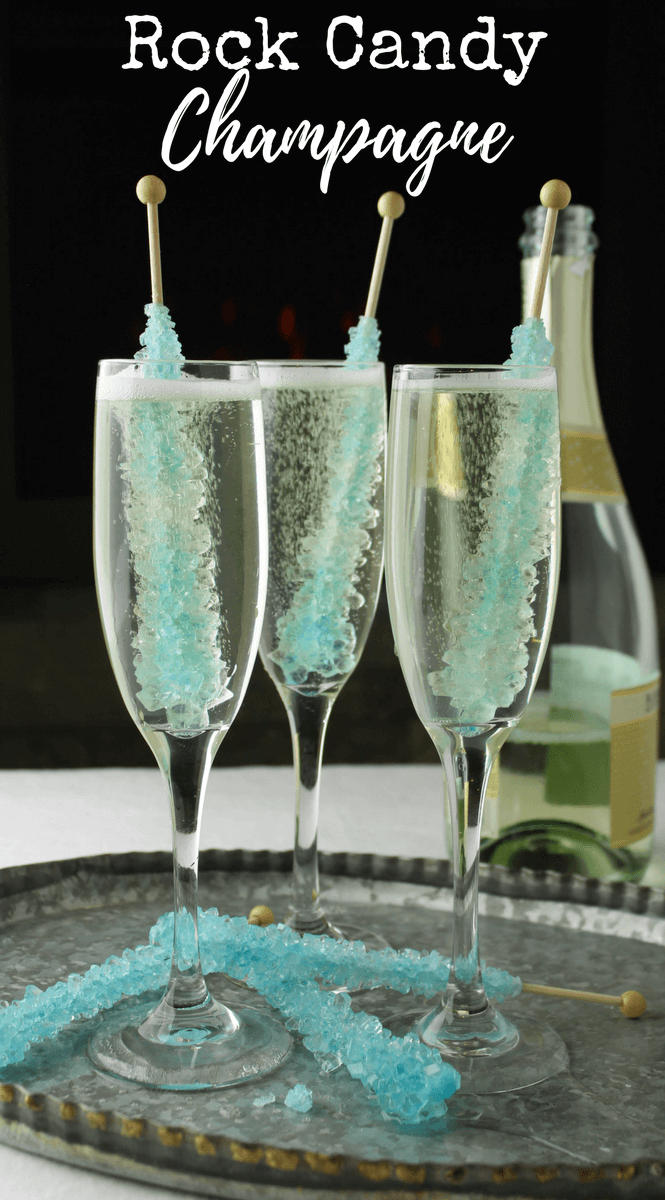 Rock Candy Champagne, New Years Eve drink, Bridal shower ideas, party drink