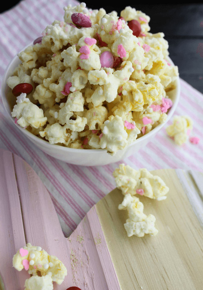 Valentine's Day White Chocolate Popcorn