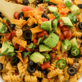 #ad, @RicosProducts, #RicosCheesePlease, Cheesy Taco Pasta, nacho cheese recipe, 20 minute dinner