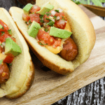#ad, Ricos Nacho cheddar cheese sauce, #RicosCheesePlease, #CheersToStoryTelling, basbeball food, hot dog, Mexican hot dog, pico de gallo, grilled hot dog, nacho cheese