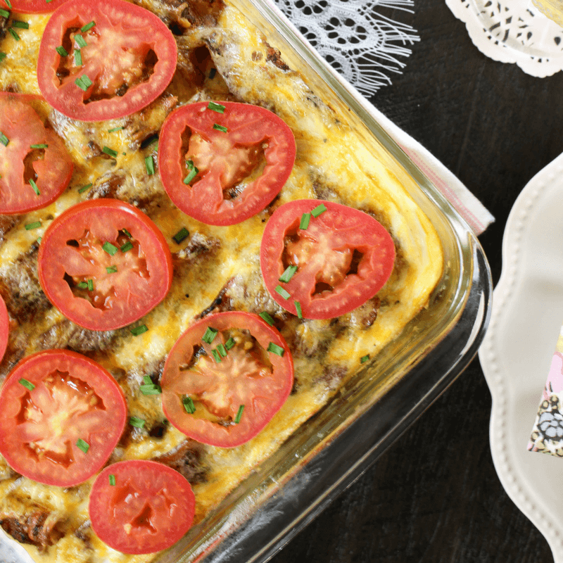 #ad Bacon and Sausage Brunch Casserole, breakfast casserole, Mother's Day brunch, mothers day, brunch tablescape