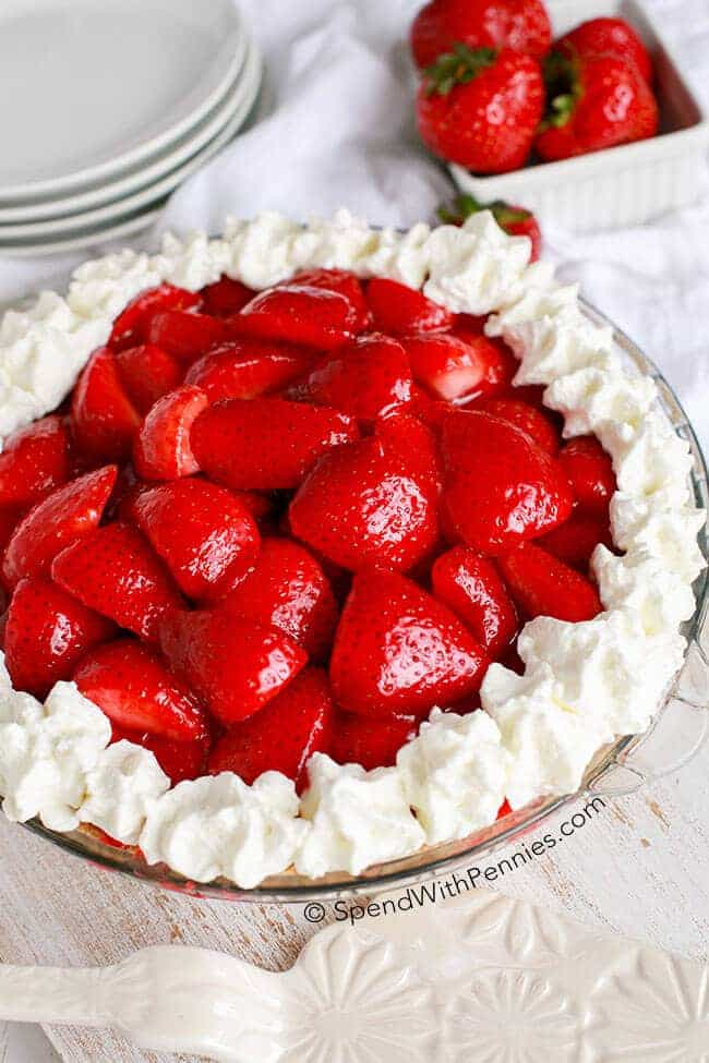 strawberry cheesecake pie, no bake summer dessert