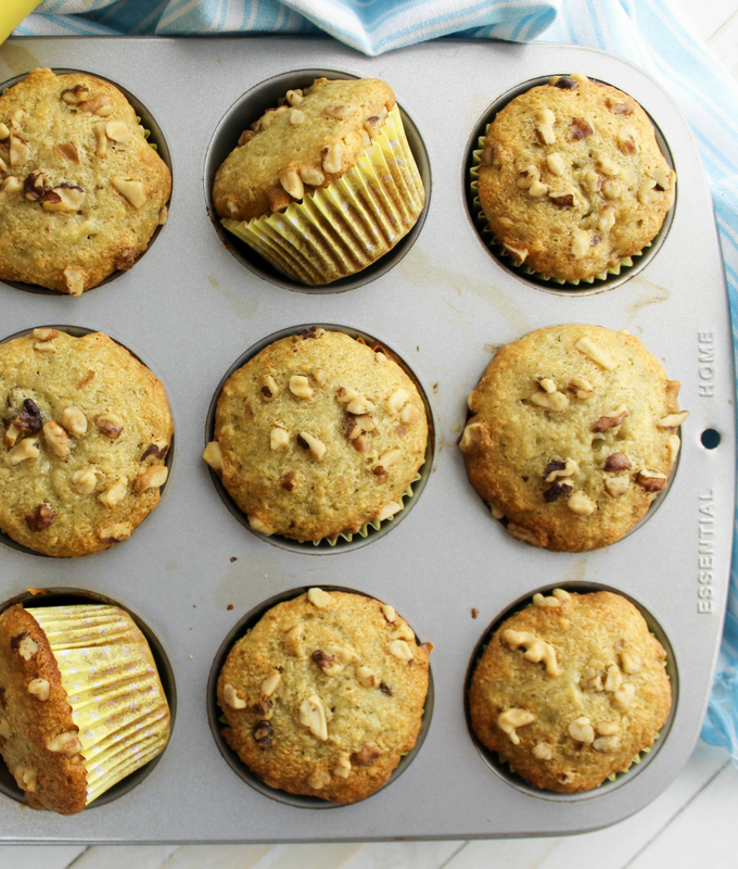 Banana Muffins with walnuts, classic banana bread, overripe banana recipe
