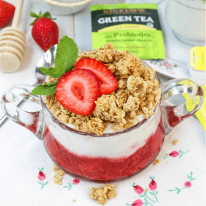 Yogurt Parfait with Strawberry Compote, #ad, #TeaProudly, #BigelowTea, #TeaProbiotics, strawberry compote, fresh strawberry sauce, healthy morning, balanced diet, Bigelow Tea with Probiotics, tea for healthy digestion