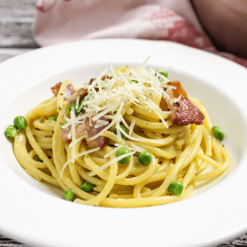 #ad #ElevateYourMeal, Carbonara with Peas, weeknight dinner, how to make carbonara, Bucatini all Carbonara, quick recipe, bacon recipe