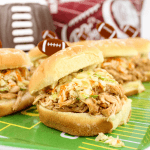 #ad, #MyDollarGeneralWin, Crock-Pot Dr Pepper Pulled Chicken Sandwiches, game day recipe, Dr Pepper recipe, football food, pulled chicken, vinegar and oil coleslaw, Dollar General