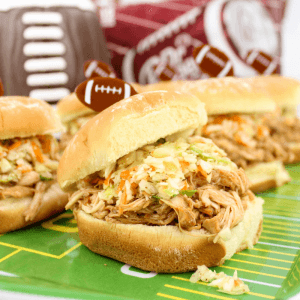 Hosting a Football Game with Crock-Pot Dr Pepper Pulled Chicken Sandwiches