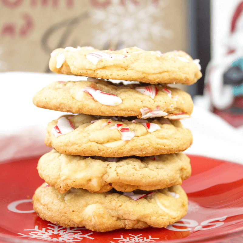 Candy Cane White Chocolate Chip Cookies