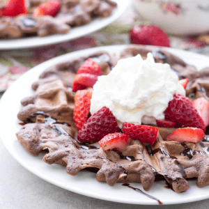 chocolate waffles, belgium waffle recipe, valentine's day breakfast, how to make chocolate waffles, chocolate waffles with strawberries