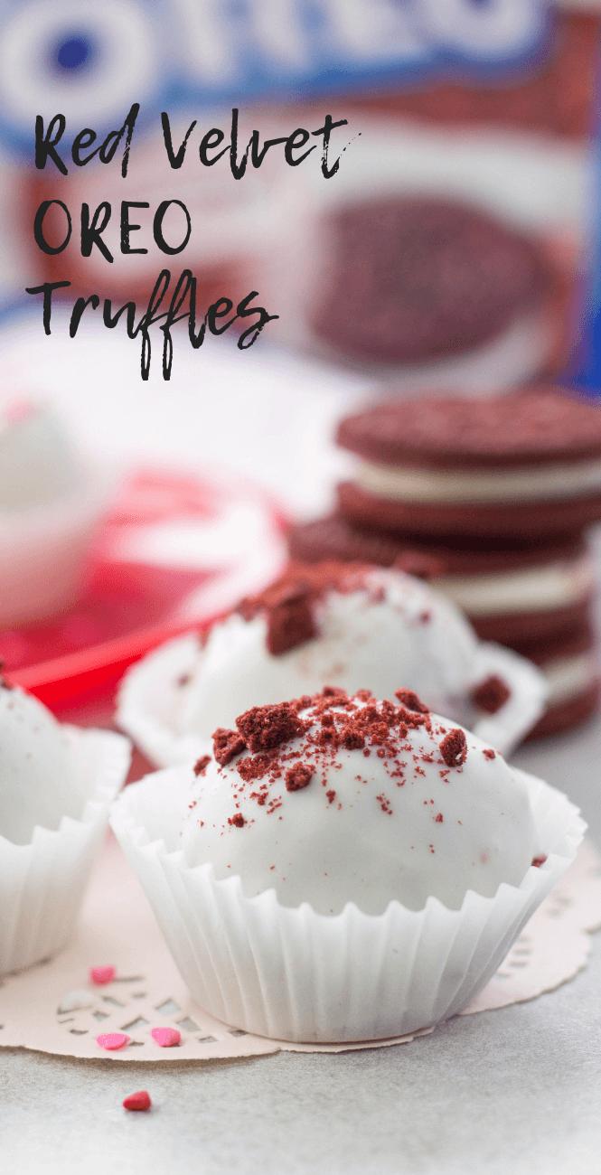 Red Velvet OREO Truffles, dessert, no-bake dessert, Valentine's Day dessert, easy dessert, red velvet, OREO recipe
