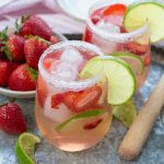 Strawberry Lime Vodka Tonic, vodka cocktail, pink cocktail, summer beverage, vodka recipe