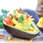 #ad, Avocado Breakfast Boats, avocado recipes, breakfast recipe, brunch recipe, avocado breakfast, healthy breakfast recipe, how to cook scrambled eggs, Sargento Cheddar Cheese