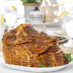 Mustard Glazed Ham, honey baked ham, stone ground mustard ham, easter ham, holiday ham, christmas ham, how to bake a ham, how to cook a spiral ham, bone-in spiral ham cook times, easter recipes, holiday main dish