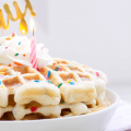 Birthday Funfetti Waffles, birthday cake waffles, waffles with sprinkles, birthday breakfast ideas, birthday brunch, kids birthday ideas, how to make a birthday special, belgium waffles