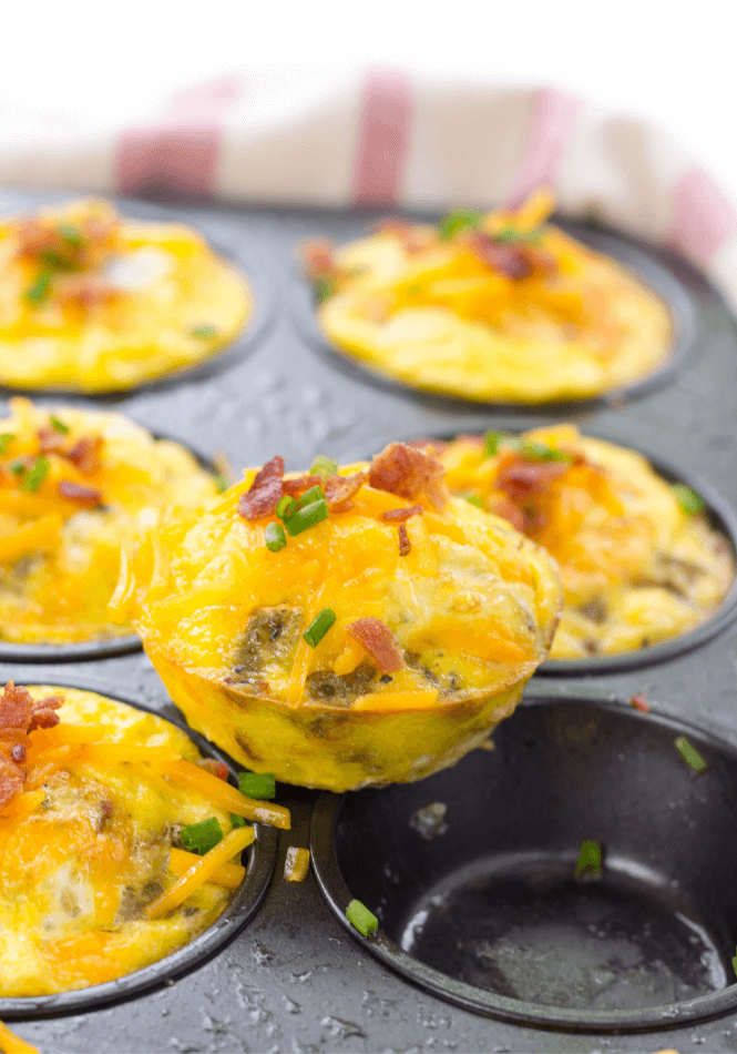 Meat Lovers Egg Muffins, Keto Egg Muffins, bacon and sausage egg muffins, keto breakfast recipe, high protein breakfast, low carb breakfast recipe, workout recipes