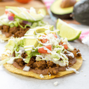 Ground Beef Tostadas, Taco Tuesday recipes, Cinco de Mayo recipes, how to make tostadas, corn tortilla tostada, spicy ground beef