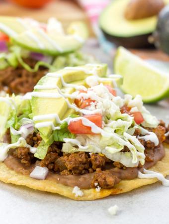 Ground Beef Tostadas, Taco Tuesday recipes, Cinco de Mayo recipes, how to make tostadas, corn tortilla tostada, spicy ground beef