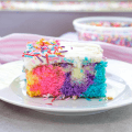Unicorn Poke Cake, unicorn cake, rainbow cake, poke cake, birthday cake, easy birthday cake, birthday party ideas, fun dessert ideas