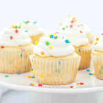 Confetti Cupcakes, whipped cream frosting, stable whipped cream frosting, sprinkle cupcakes, funfetti cupcakes, birthday dessert, birthday cupcakes,