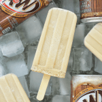 #ad #AWMemories Root Beer Float Popsicles are made with A&W® Root Beer and vanilla ice cream packed into popsicle molds and frozen for a delicious treat made with only two ingredients | Summer dessert | 2 ingredient dessert | popsicles | root beer float