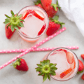 Fresh Strawberry Mocktail, mocktail recipe, pink cocktail, pink beverage, strawberry drink, strawberry sparkling water, strawberry syrup, non alcoholic mothers day drink