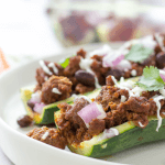 Taco Zucchini Boats, low carb recipe, low carb tacos, taco stuffed zucchini boats, how to make zucchini boats, ground beef zucchini tacos, spicy ground beef, keto recipe, keto tacos