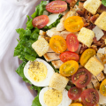 #ad @GreatDayFarms #EggceptionallyGreat, Chicken Bacon Caesar Salad, caesar dressing, yogurt based dressing, salad recipe, summer dinner recipe, how to make a caesar salad,