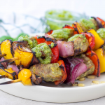 Pesto Steak Kabobs, basil pesto, grilled steak, summer grilling recipe, steak skewers