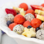 Red, White and Blueberry Fruit Salad, patriotic fruit salad, 4th of july recipes, 4th of july side dish, dragon fruit recipe, melon balls
