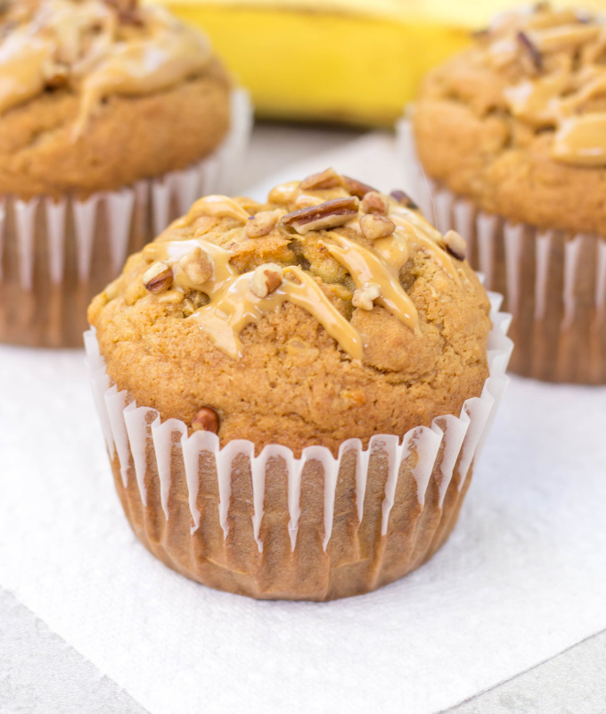#ad Peanut Butter Banana Muffins, @BrawnyBrand® Tear-A-Square®, #PutASquareThere, back-to-school recipes, breakfast muffins, peanut butter recipe