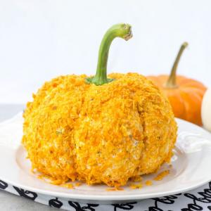 Pumpkin Shaped Cheese Ball, Halloween recipes, Halloween party ideas, Halloween cheese ball, spicy cheese ball, Doritos cheese ball